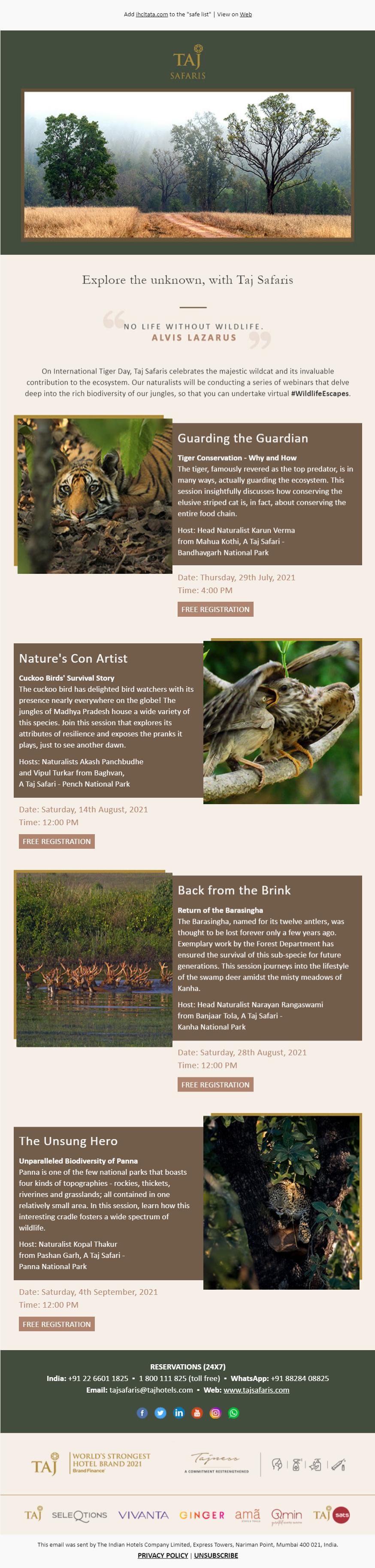 Email example by Taj Safaris
