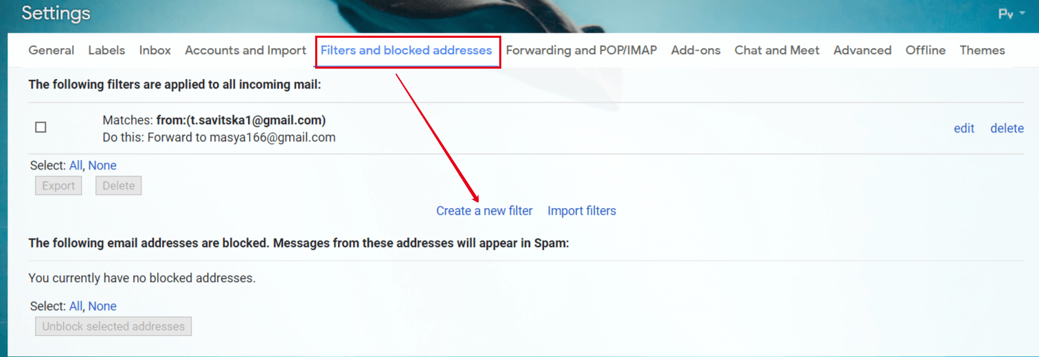 Filtering rules in Gmail