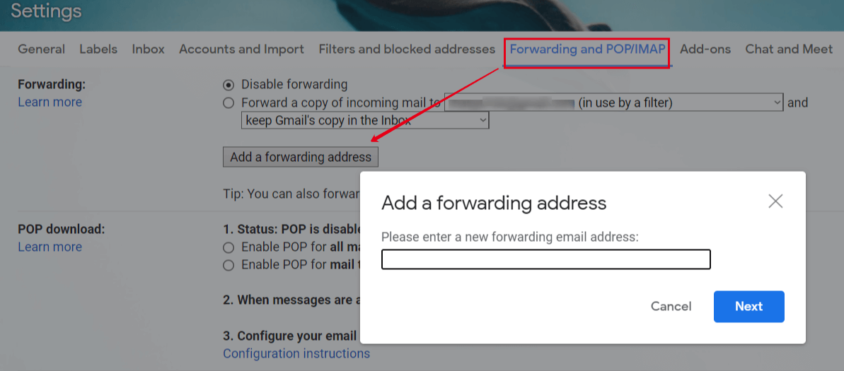Adding a forwarding email in Gmail