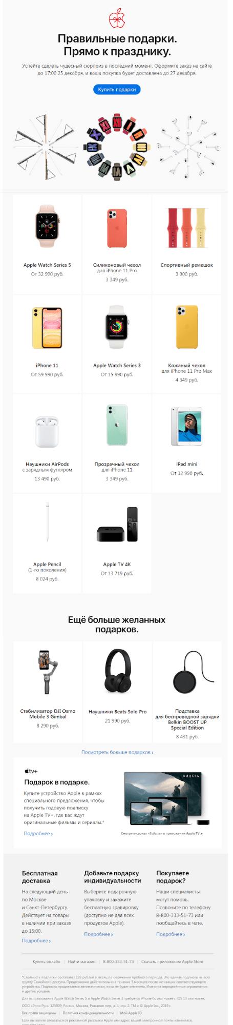 Рассылка с общей подборкой подарков от Apple