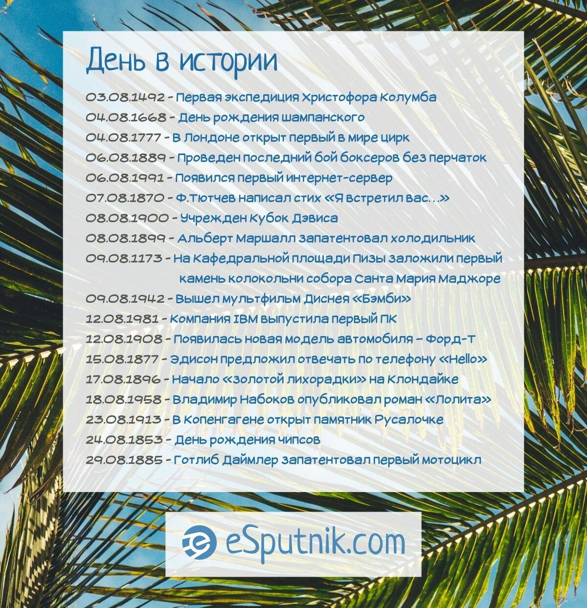 Памятные даты в августе