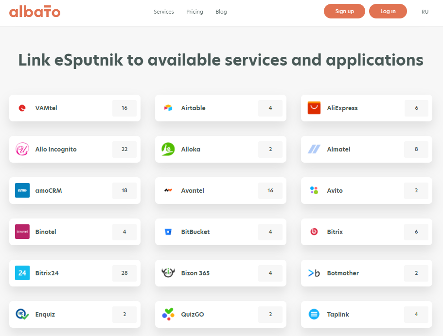 List of integrations supported by Albato