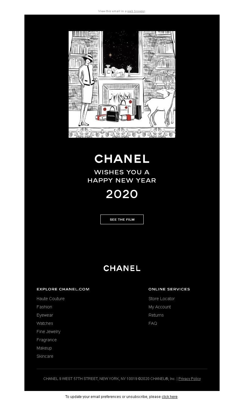 Новогодняя рассылка от Chanel