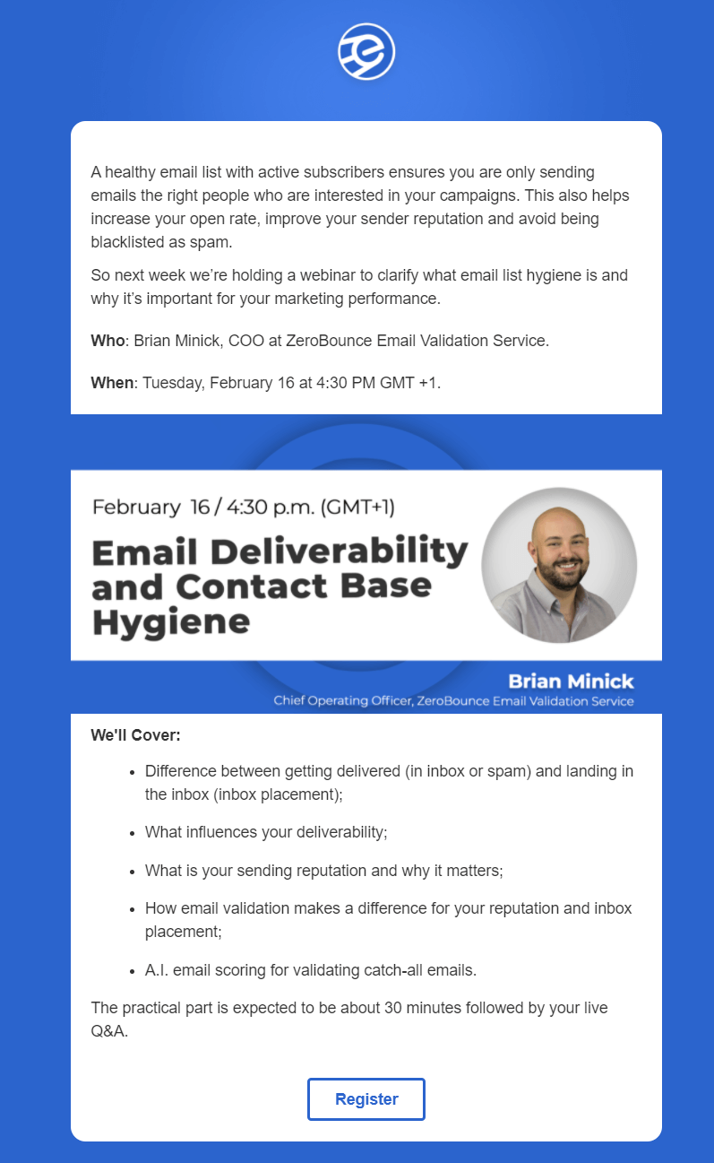 Webinar email invitation by eSputnik