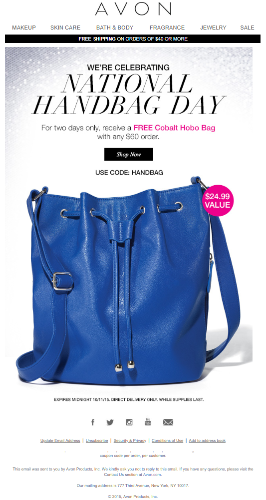 Best email content for Handbag Day