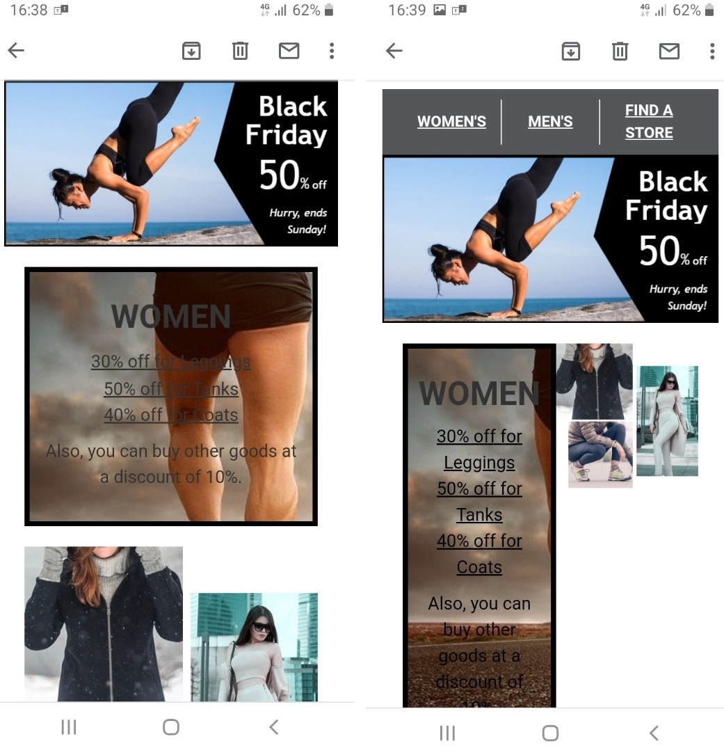Responsive vs. non-responsive background image email