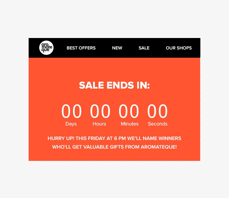 Promo email with a countdown timer