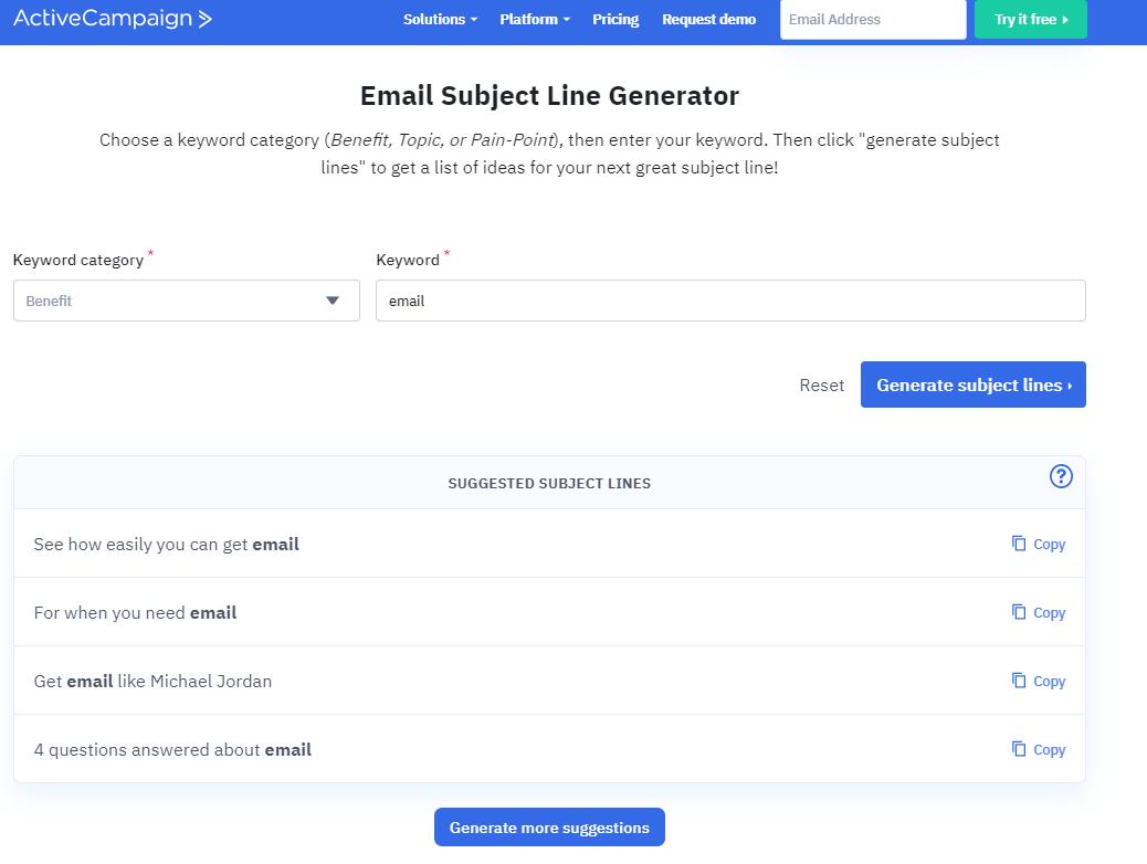 ActiveCampaign subject generator
