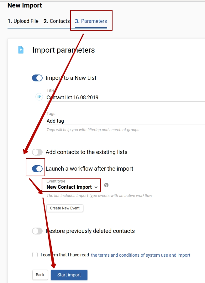 Launch a workflow after the import