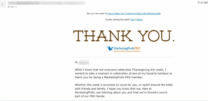 Content marketing ideas: Thanksgiving email