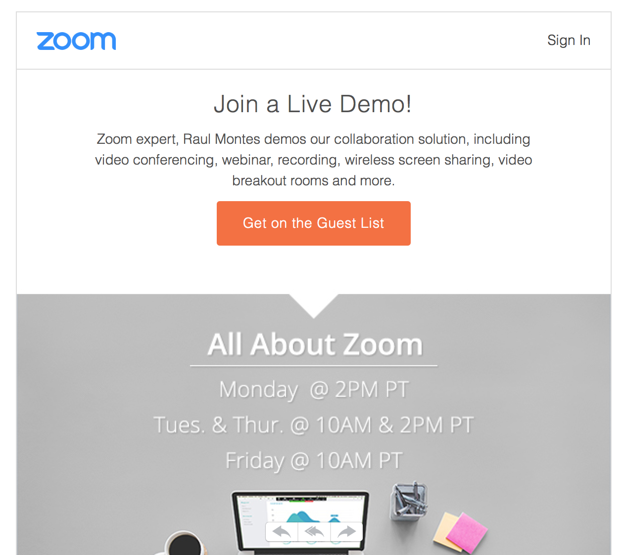 Long CTA button example by Zoom