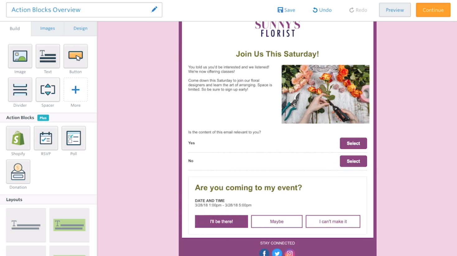 The RSVP and survey features can be used together