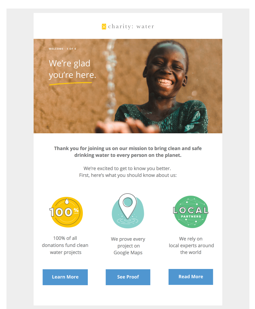 Multiple CTA button example by Charity Waters