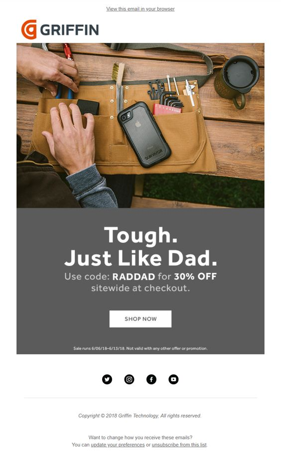 Great content ideas: Father's Day campaign