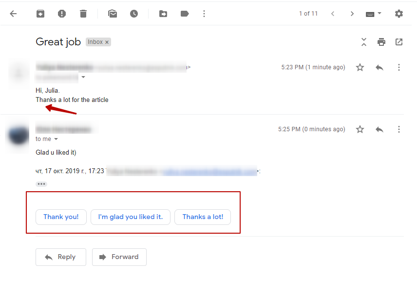 Smart Reply by Gmail