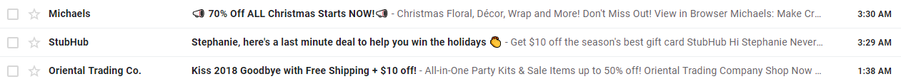 Christmas subject lines