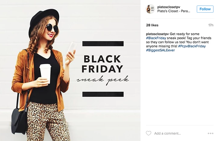 Email content ideas: Black Friday Insta post