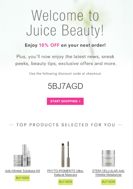Product recommendations in welcome email