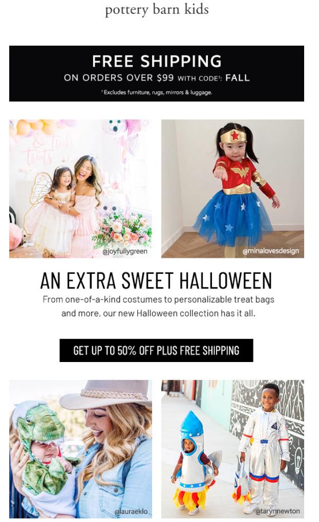 Halloween email with UGC