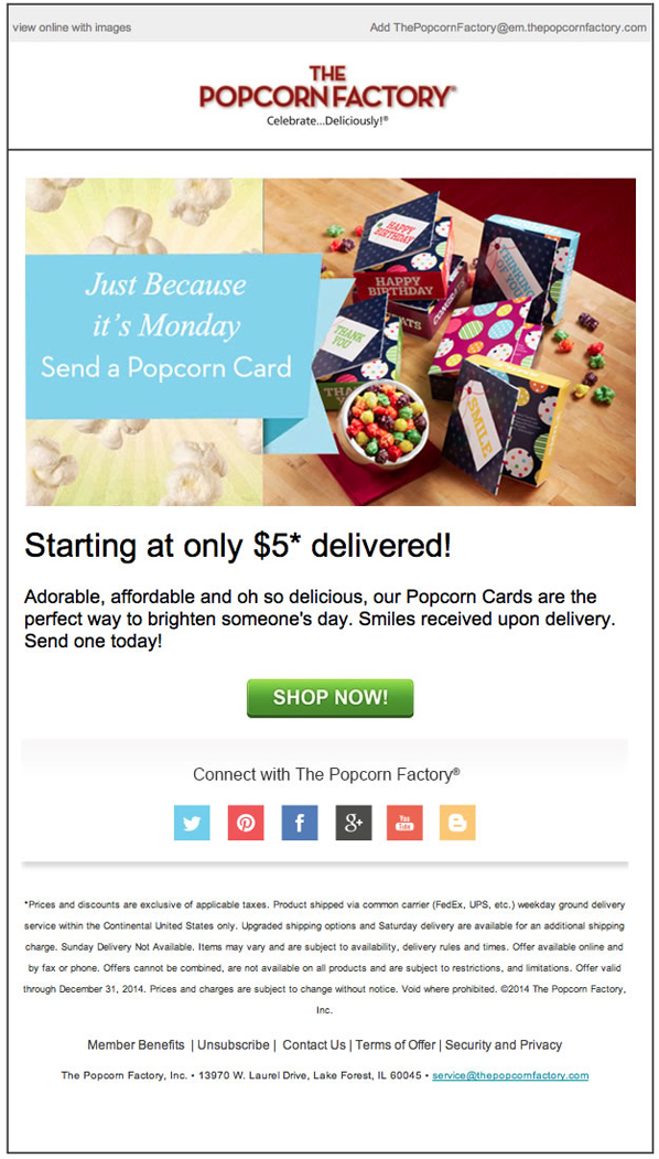 Email campaign by The Popcorn Factory