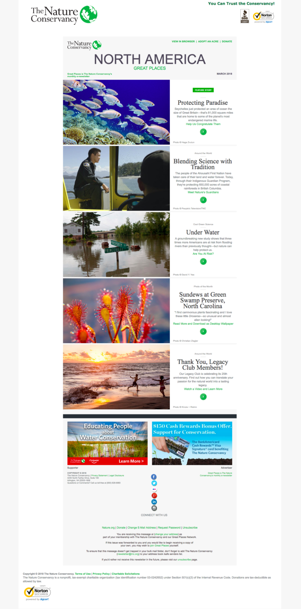 Email campaign by the Nature Conservancy