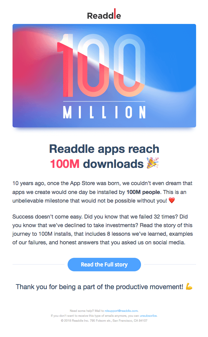 Email campaign by Readdle