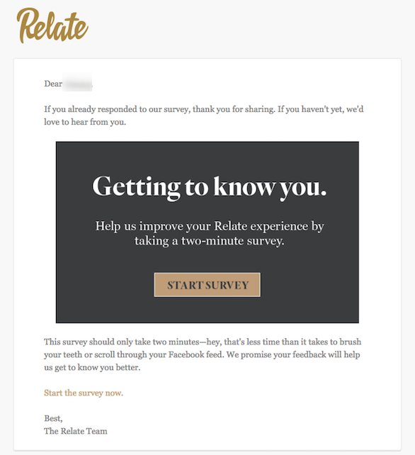 Email campaign by Relate
