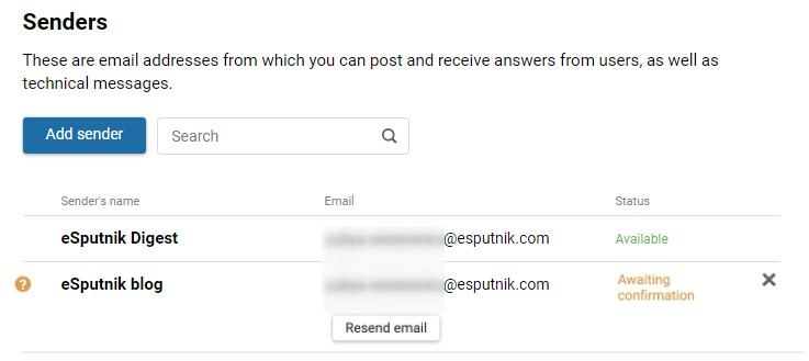 How to add a sender name in the eSputnik system