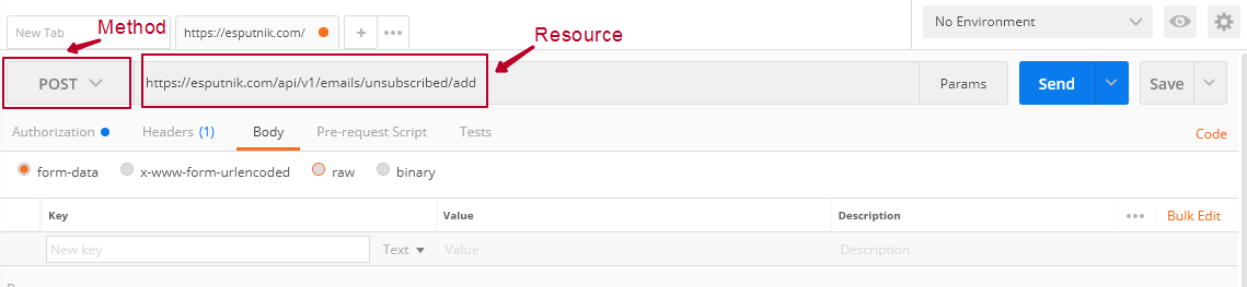 Select the method and enter the resource