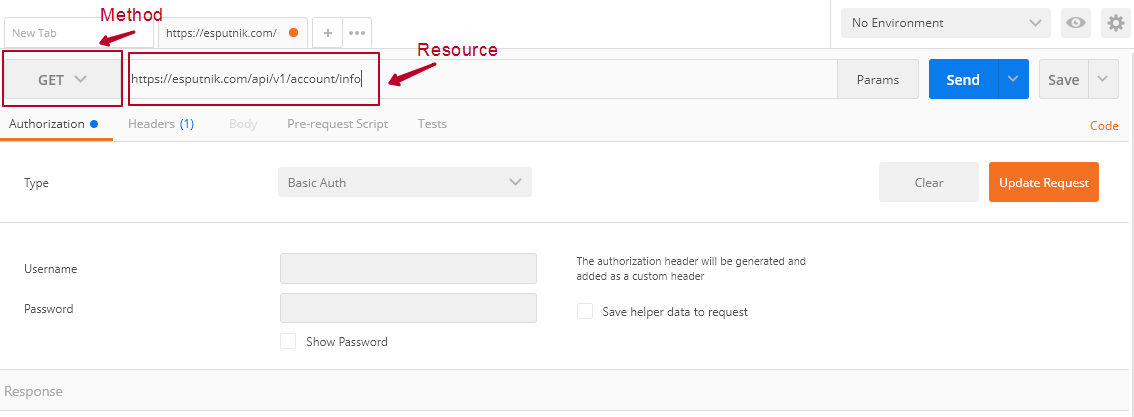 Select a method and enter a resource