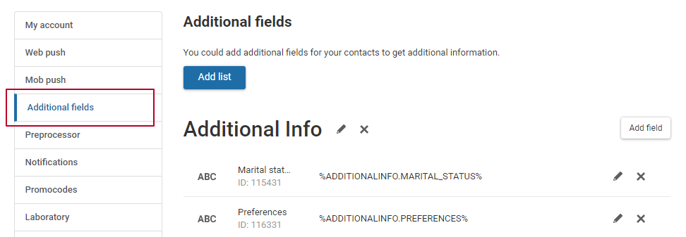 Additional fields