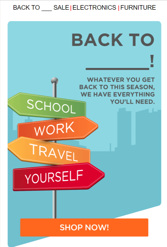 Back to school email marketing campaign