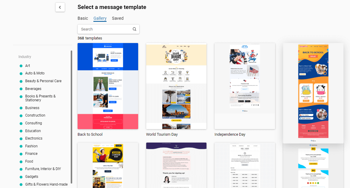 Email templates gallery