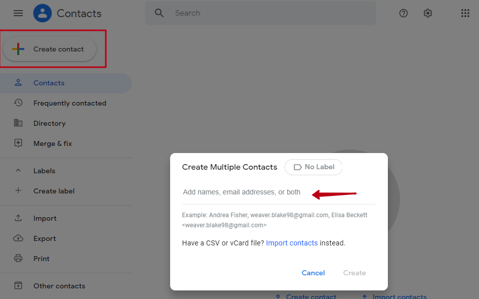 Google Contacts. Multiple contacts creation