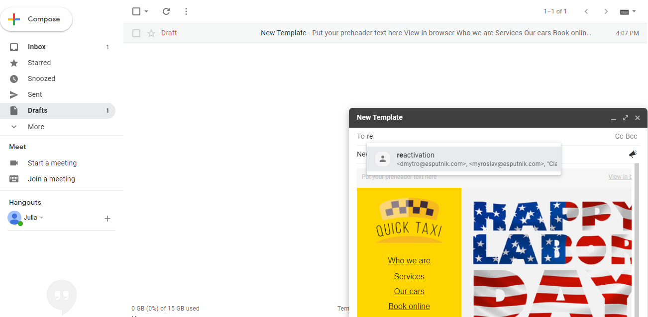 Gow to send bulk HTML email from Gmail
