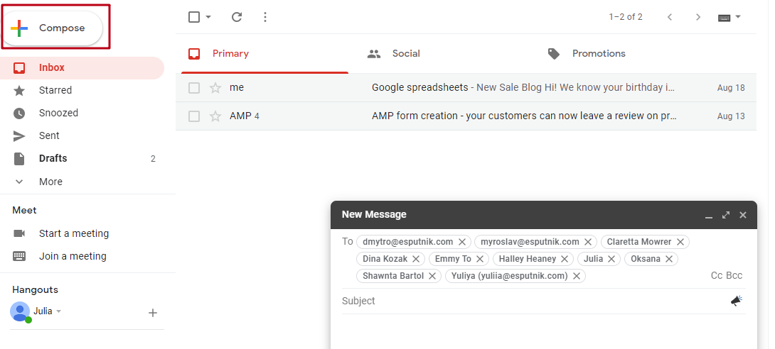 How to send a bulk mail in Gmail