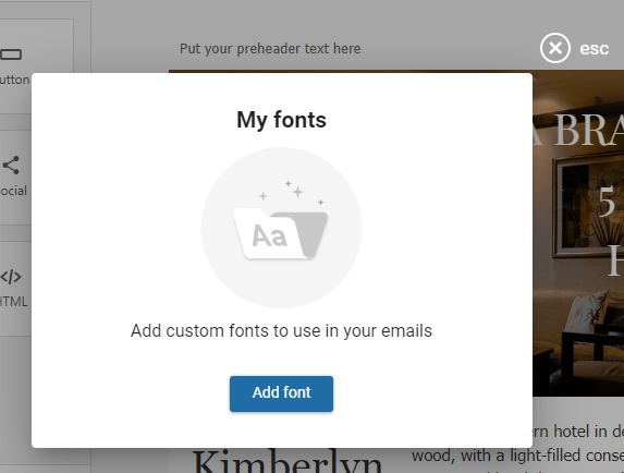 Add a font in the eSputnik builder