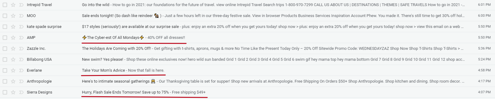 Subject lines in Gmail Inbox