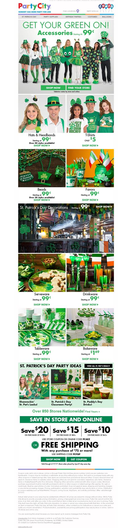 Get your Green On, an St. Patrick's Day email by Party City