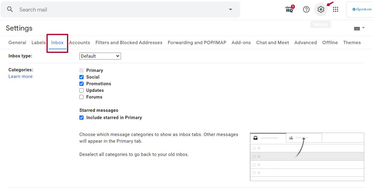 Change Gmail tabs in Settings > Inbox