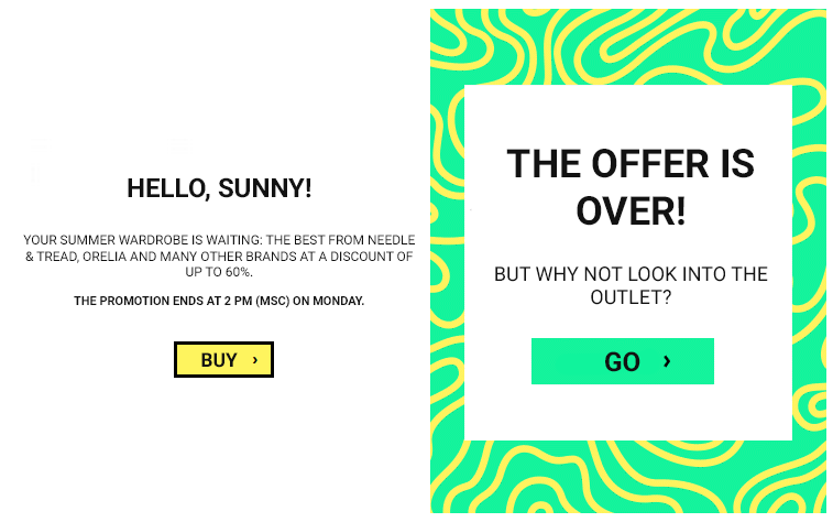 banner  in email from asos company
