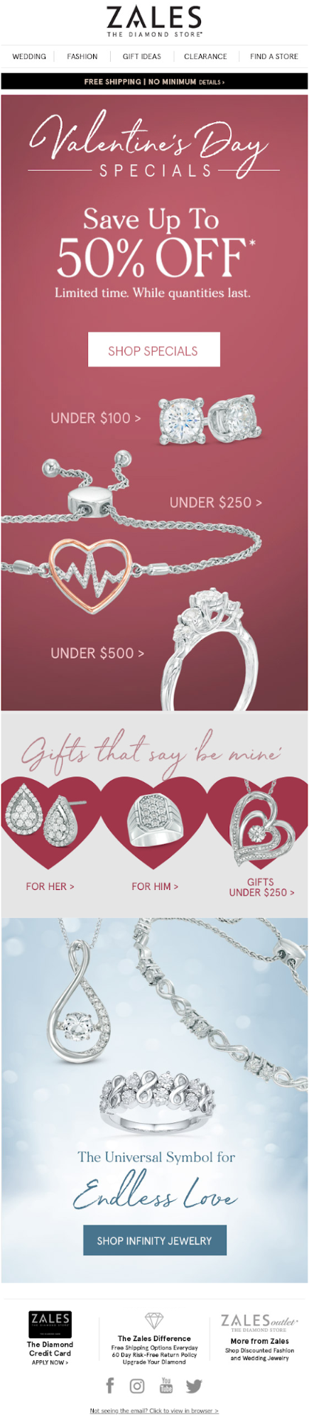 Save up to 50%, a Valentine's Day promo email by Zales