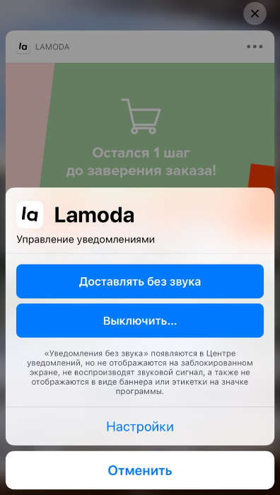 Параметры уведомлений на iPhone