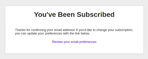 "Example of a ""Subscription Successful"" message"