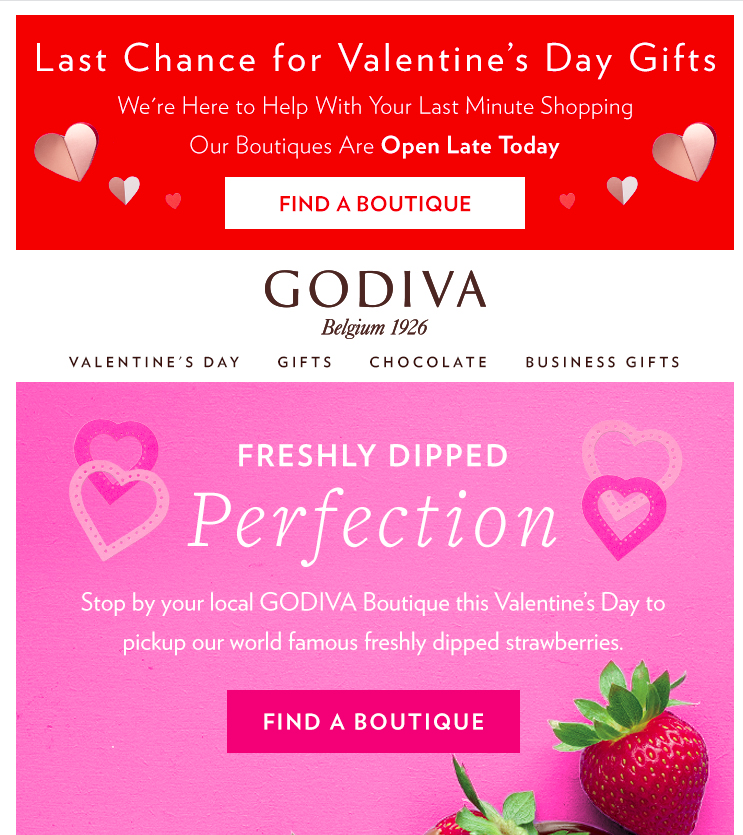 Godiva's Valentine's Day email campaign with a 'Last Chance' FOMO messsage.