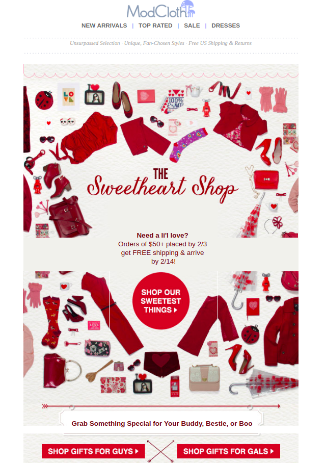 ModCloth's Valentine Day email with multiple CTAs for segmentation.