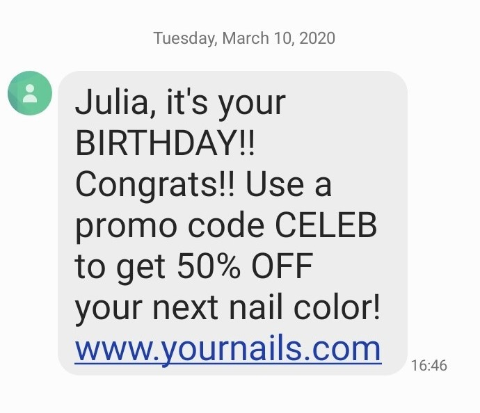 Promotional SMS examples
