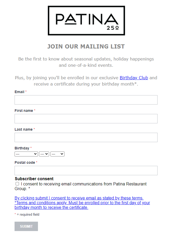 Static subscription form examples
