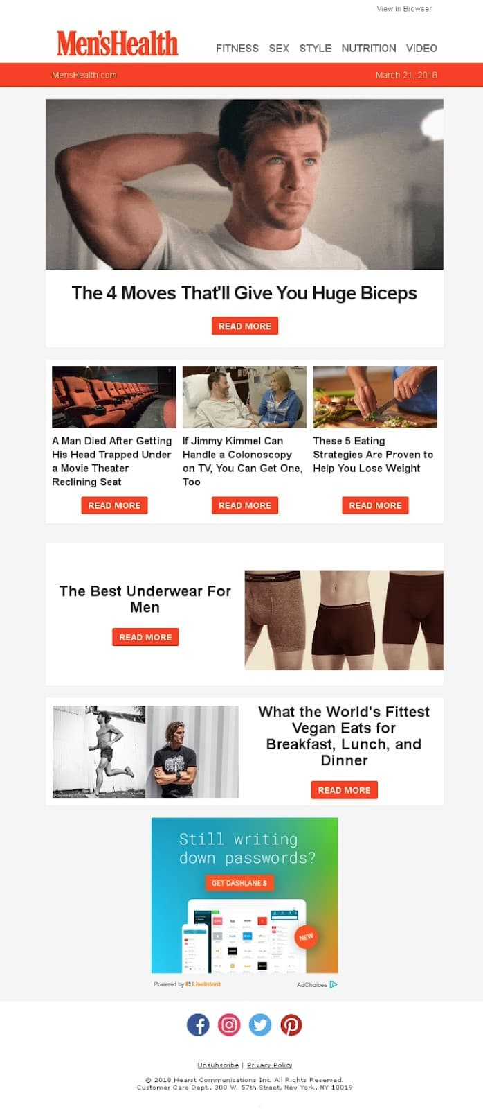 Email newsletter by Men's Health