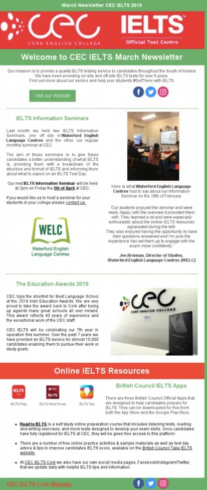 Email newsletter by IELTS